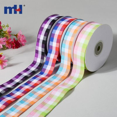 Color Check Plaid Wired Ribbon