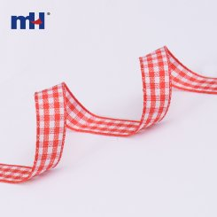 white and red gingham ribbon